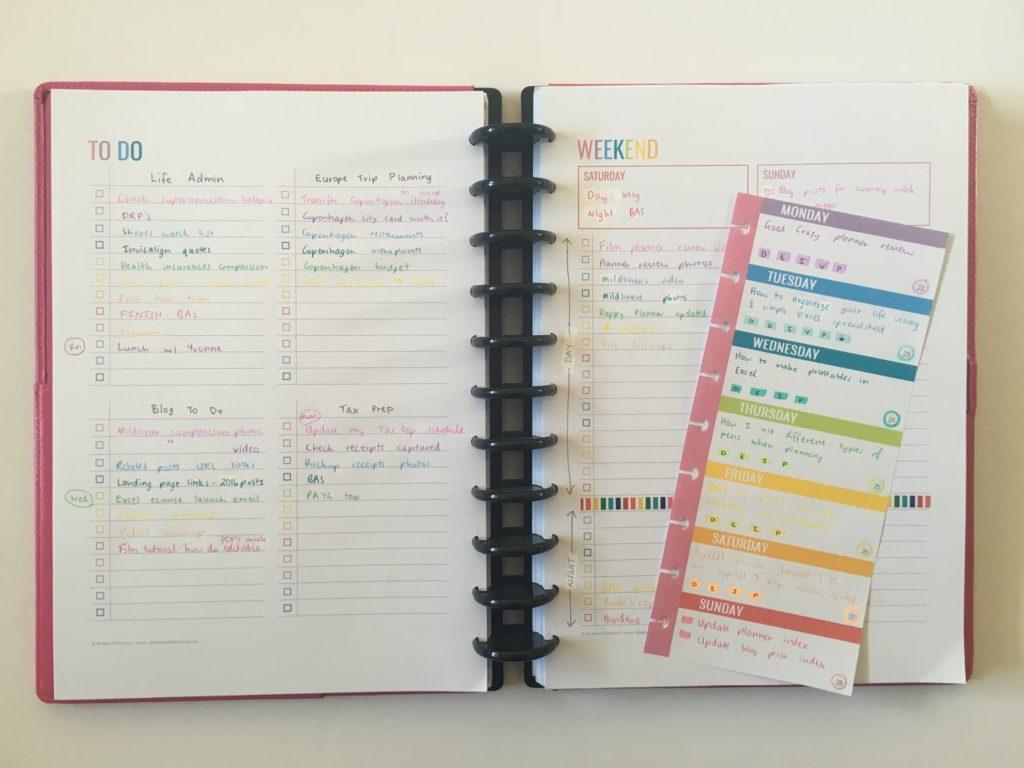 rainbow weekly spread planner printable discbound classic size mambi half sheet checklist