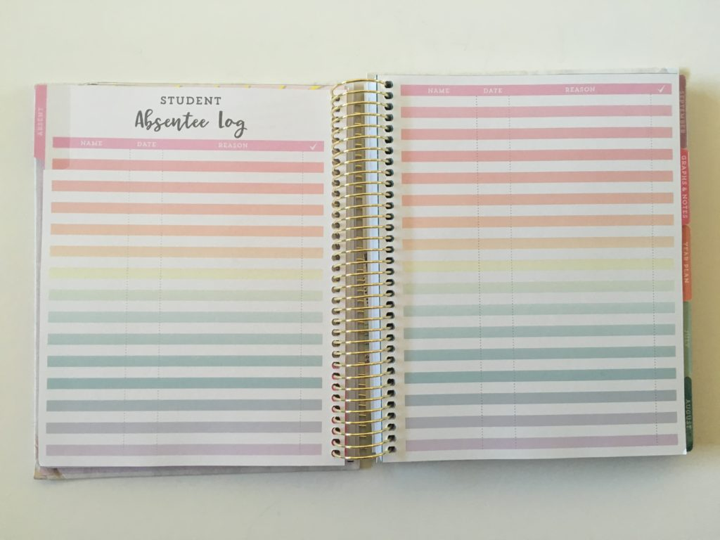 teacher planner review michaels recollections student absentee log tracker rainbow