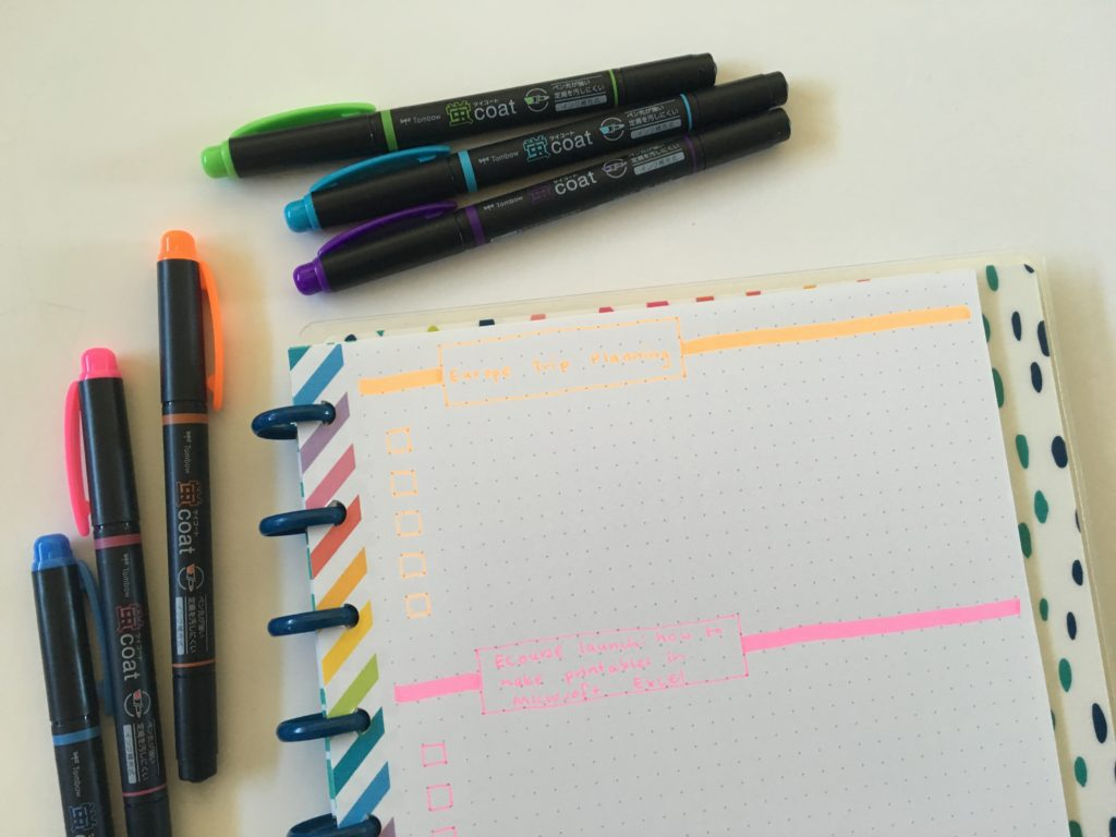 tombow kay coat highlighter review dual tip neon rainbow happy planner mambi dot grid happy note book