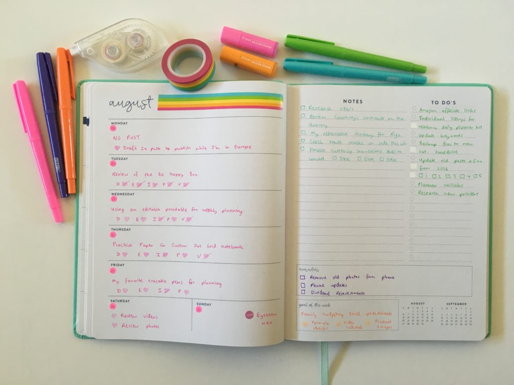 using an expired weekly planner eccolo horizontal notes and checklist kikki k felt tip pens simple color coding