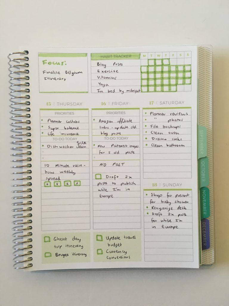 vertical weekly spread plum paper priorities layout lined writing space simple school college layout