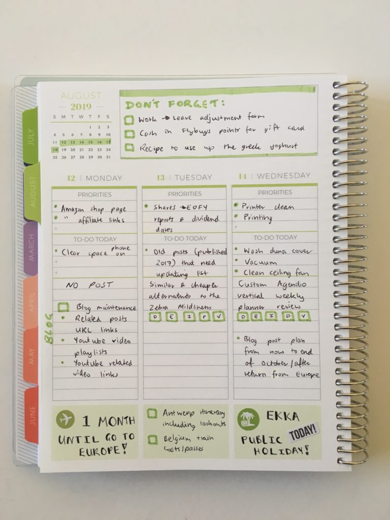 green themed spread in the plum paper vertical priorities