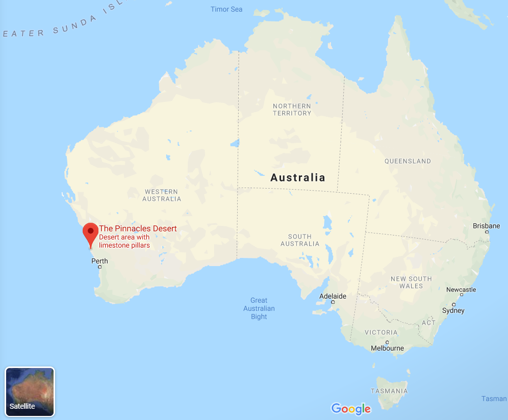 where are the Pinnacles in Western Australia map guide for visiting