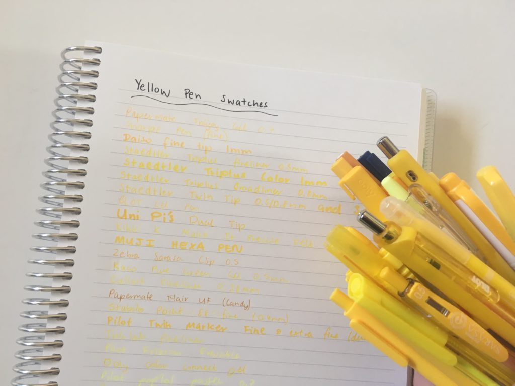 yellow pen swatches best pens for planning ghosting bleed through fine tip gel pen