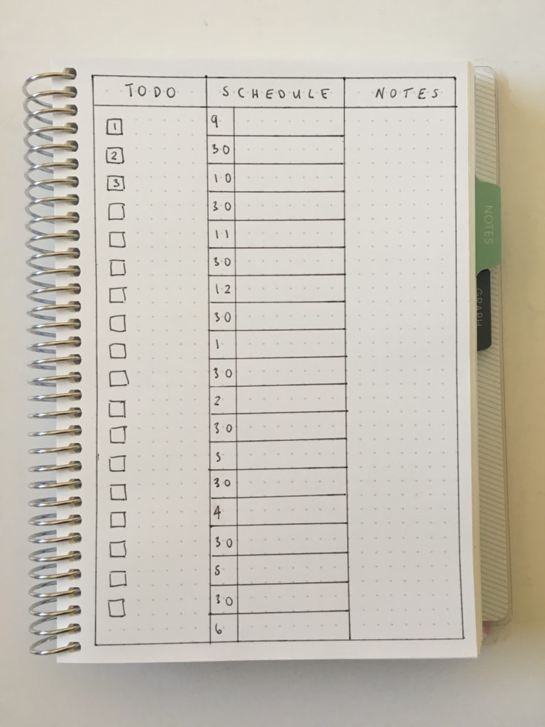 bullet journal daily planner spread 1 page per day simple minimalist easy frixion erasable pens