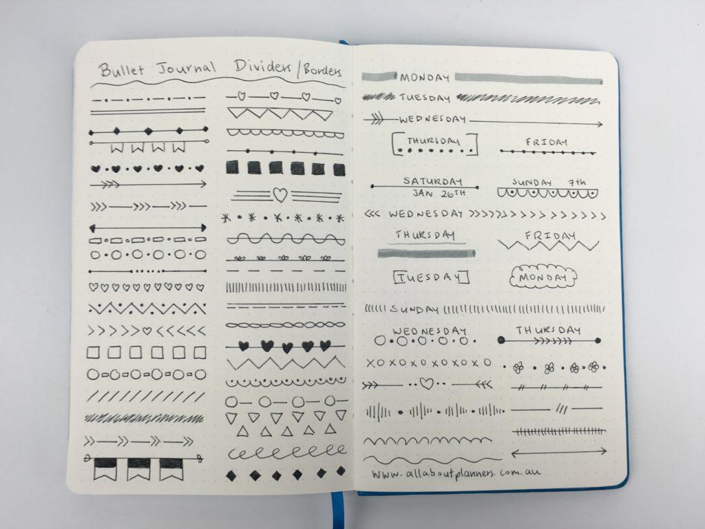 bullet journal header border page divider ideas simple quick diy doodle handdrawn minimalism art decorative diy inspiration inspo