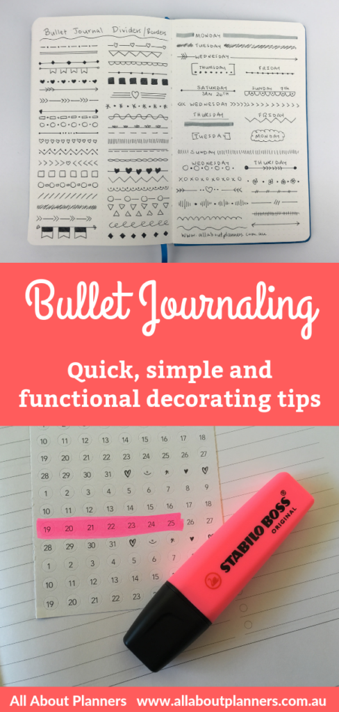 bullet journal tips decorating ideas simple quick easy functional bujo inspiration planning all about planners