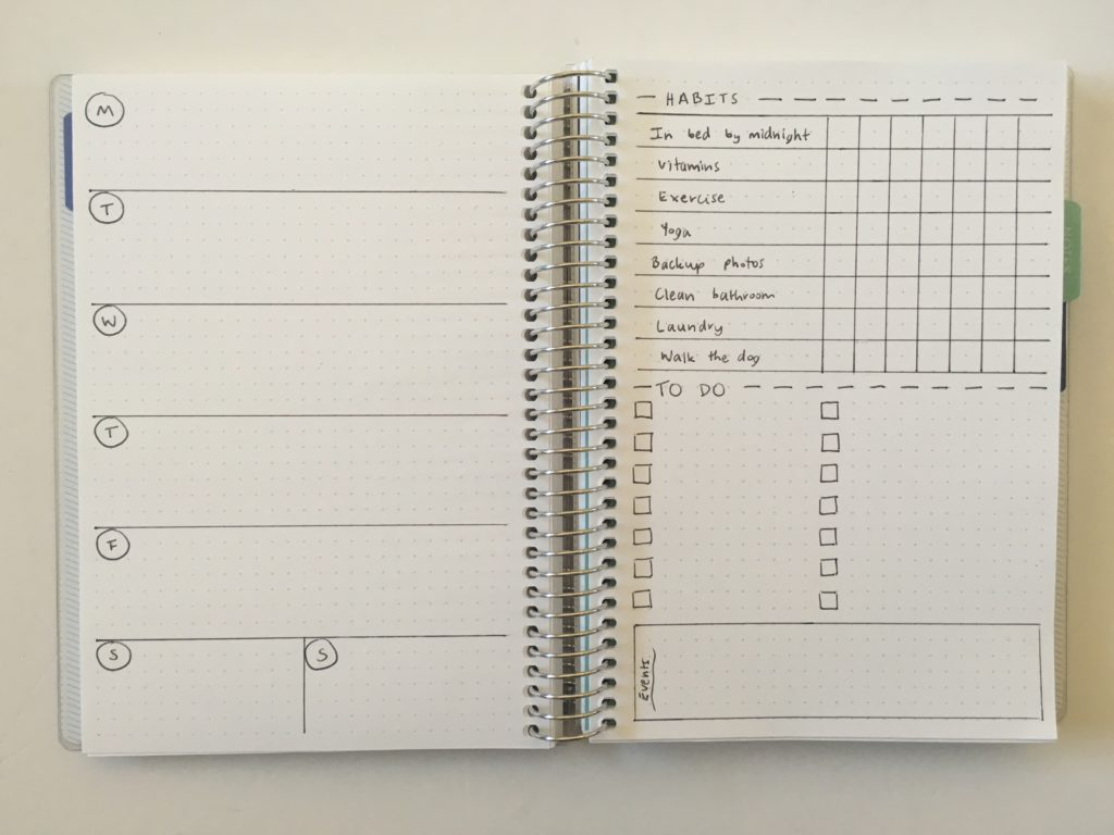 bullet journal weekly spread with habit tracker simple quick easy minimalist under 10 minutes frixion erasable pens