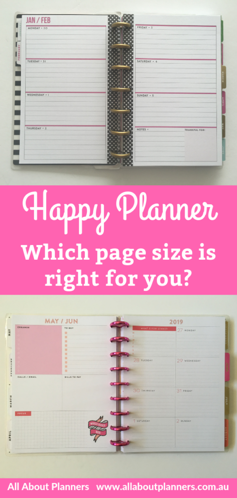 happy planner which page size is right for you mambi horizontal vertical hourly classic mini big which is best students mom tips