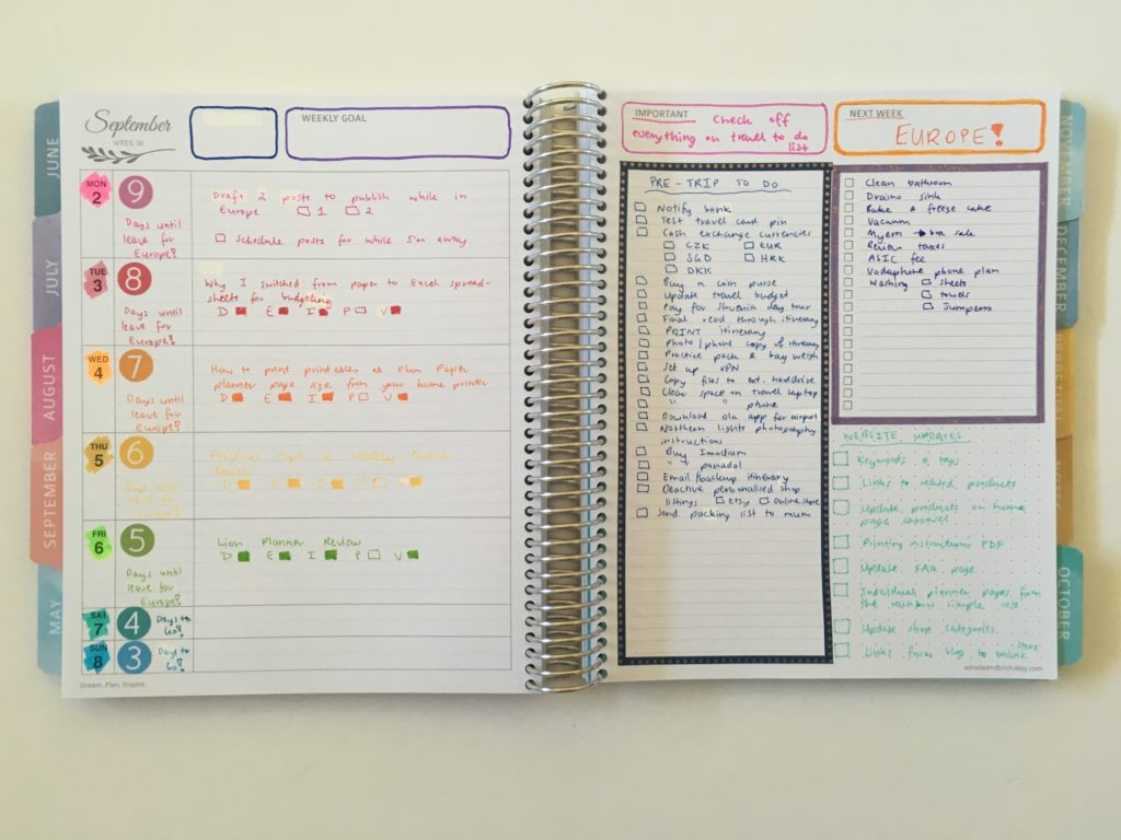 quick weekly spread decorating ideas whistle and birch australian planner review monday start rainbow color coded by day