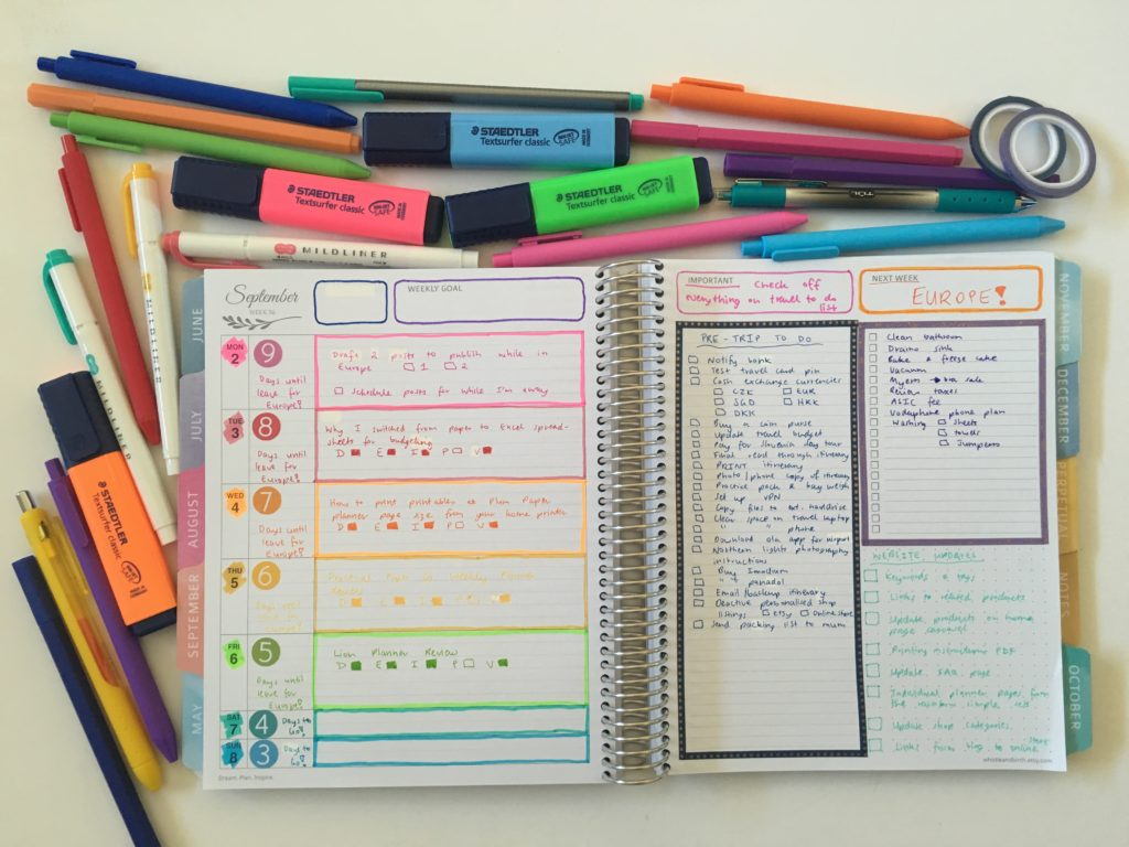 whistle and birch study layout weeky spread highlighters color coding checklists monday start