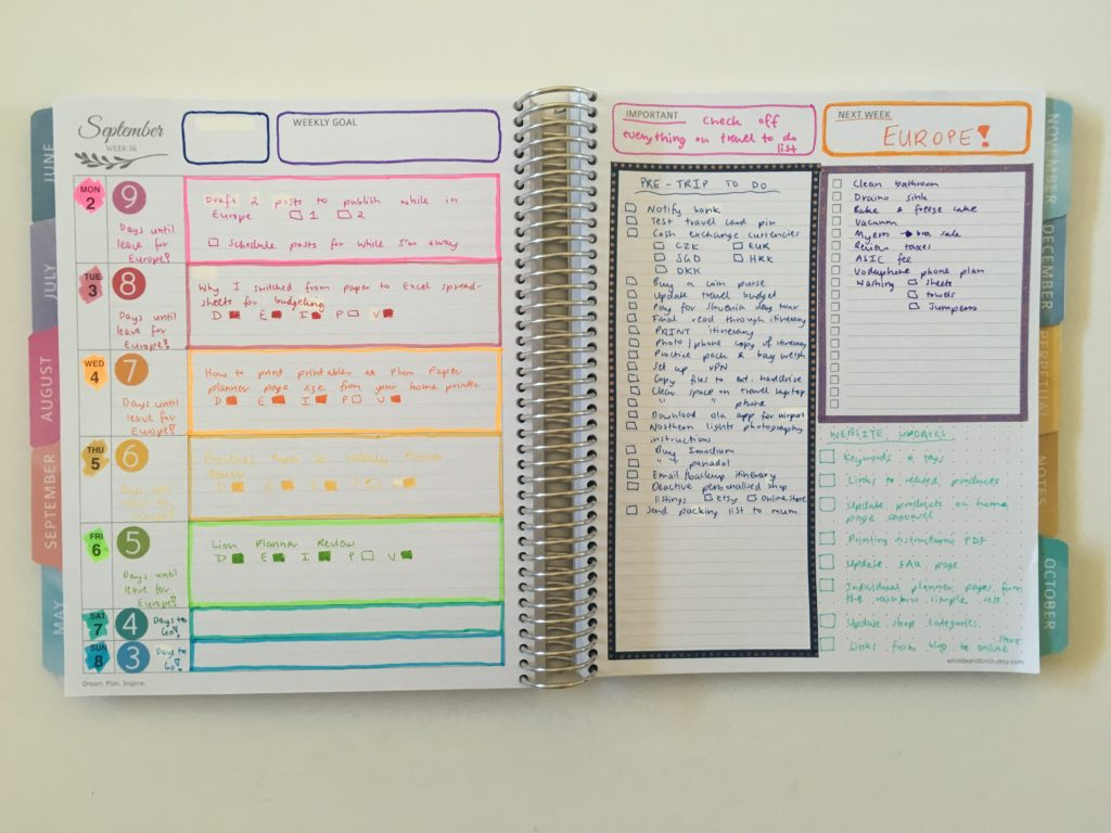 whistle and birch weekly spread rainbow highlighters all about planners quick easy colorful decorating ideas