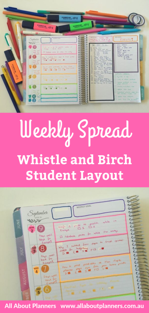 whistle and birch weekly spread student planner layout color coded simple quick minimalist organization rainbow date dot sticker lined all about planners