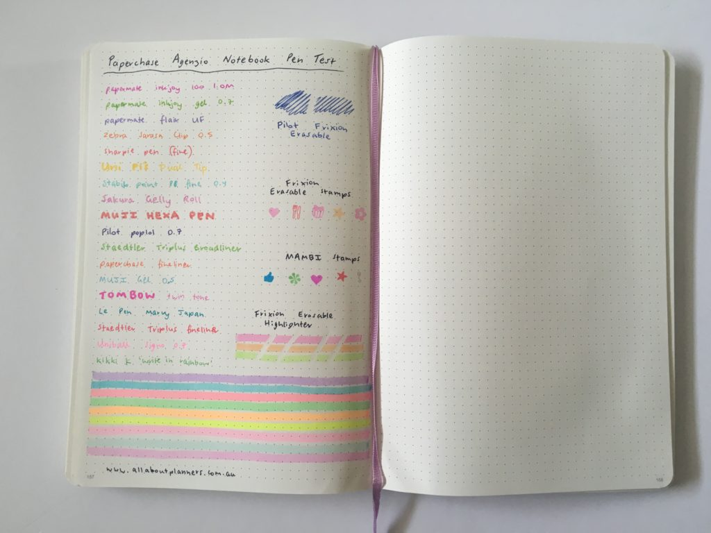 paperchase agenzio dot grid notebook testing highlighters pens ghosting bleed through paper quality
