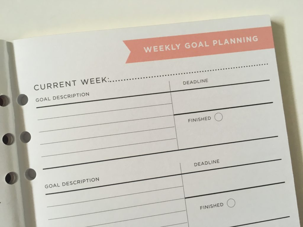 recollections goals planner journal weekly