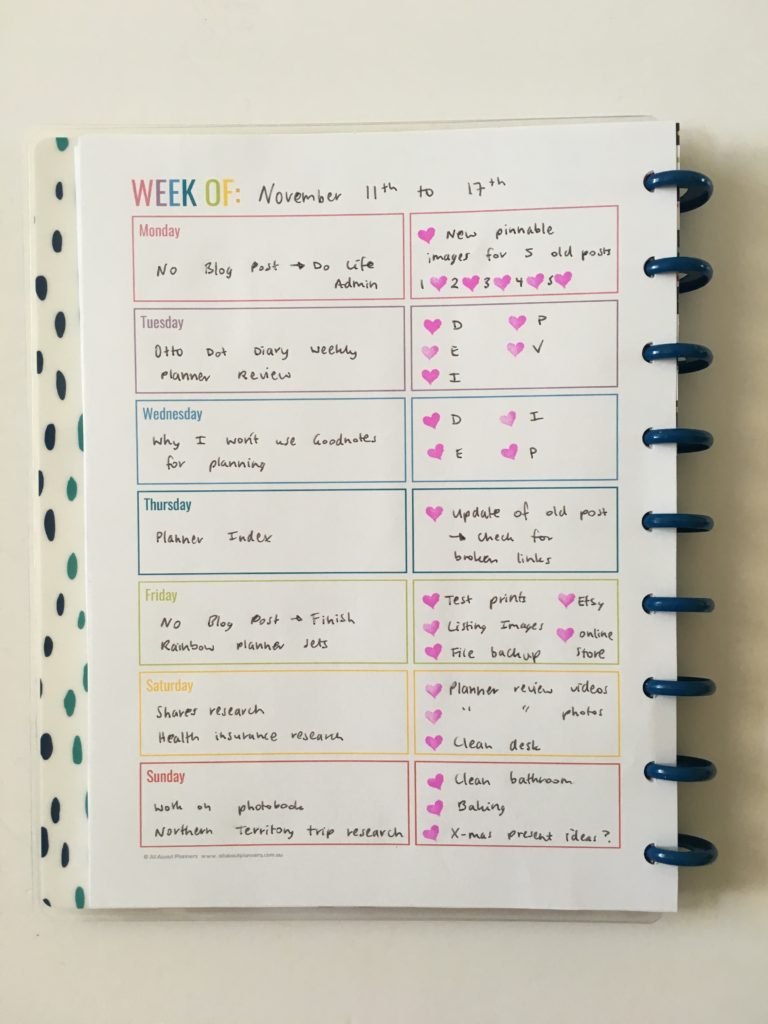 1 page rainbow weekly spread all about planners