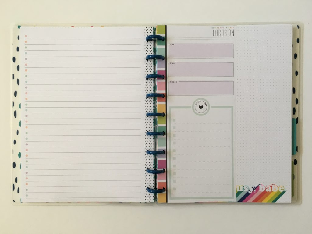 Happy planner refill inserts half sheet classic size planner babe range rainbow focus on checklist functional