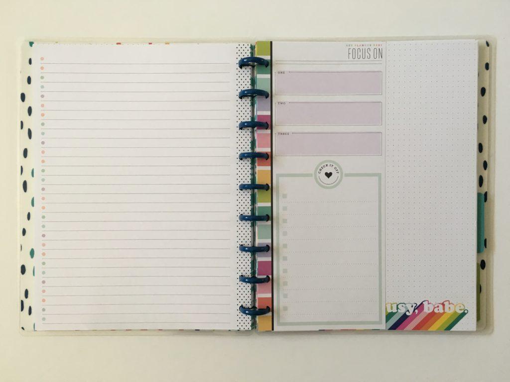 Happy planner refill inserts half sheet classic size planner babe range rainbow focus on checklist functional