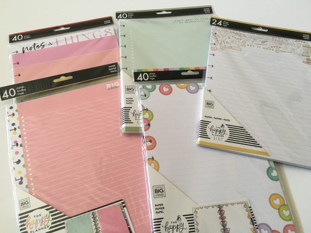 Happy planner classic size half sheet color coded simple functional discbound add on pages planner babe dot grid lined