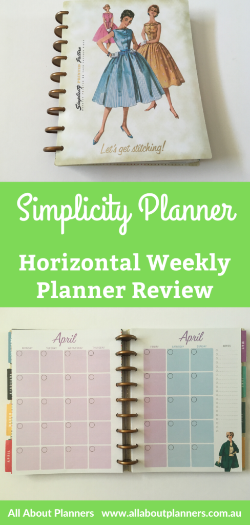 Simplicity vintage weekly planner review horizontal week start monday monthly calendar colorful discbound compatible with mambi