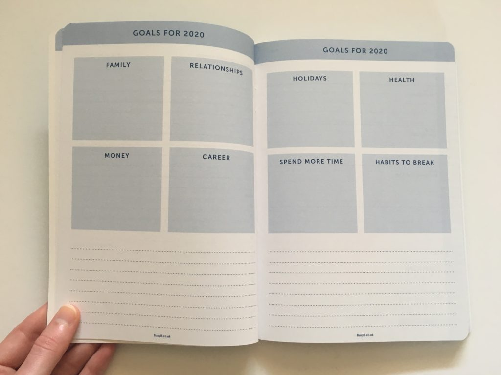 busy b weekly planner review goals career health family money holidays annual overview horizontal weekly planner