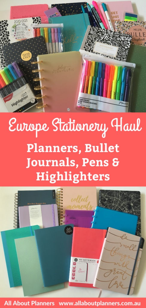 europe stationery haul weekly planners dot grid notebooks for bullet journal pens highlighters all about planners germany video
