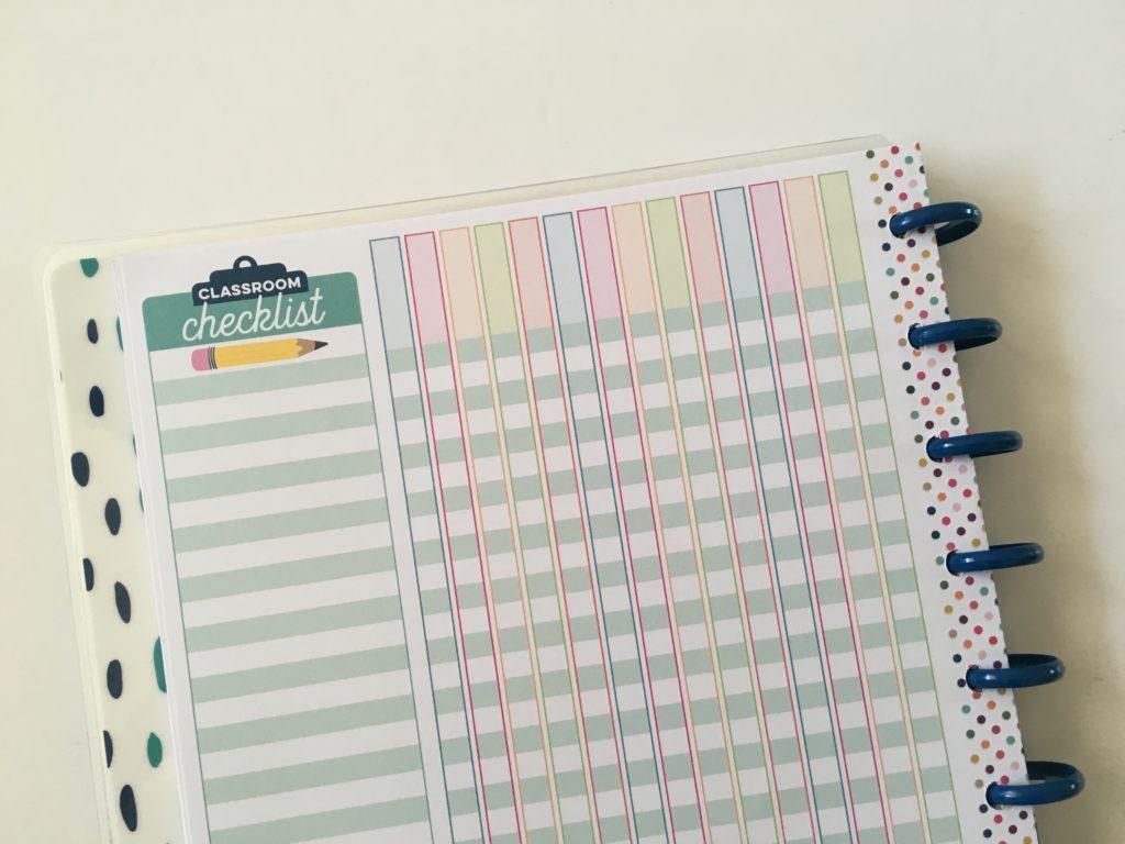 happy planner teacher attendance record grade tracker rainbow workflow insert refill