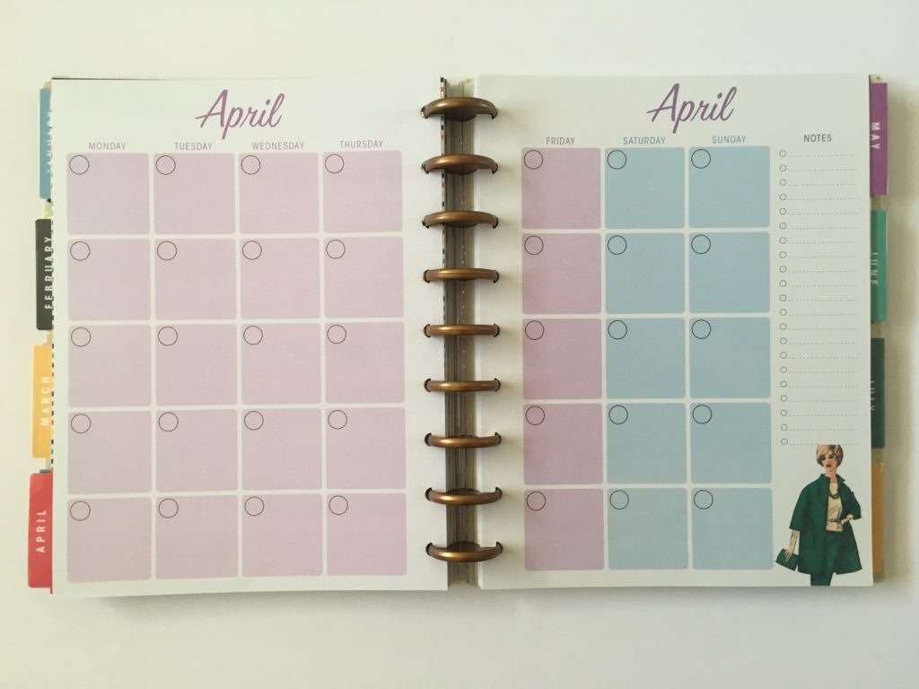 monthly calendar monday start purple blue green pink video review