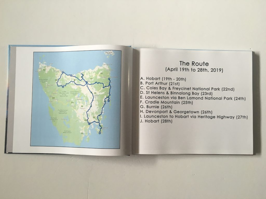 photobook road trip itinerary route plotted using google maps