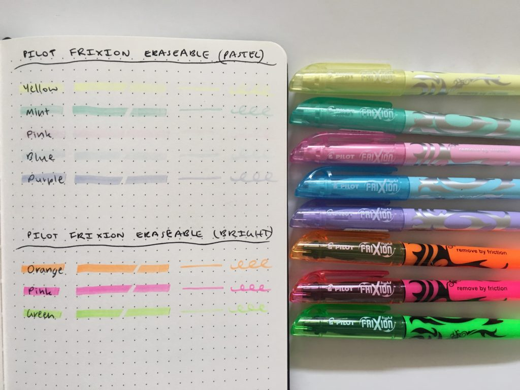 pilot frixion erasable highlighter bright versus soft color pastel which is better review swatches