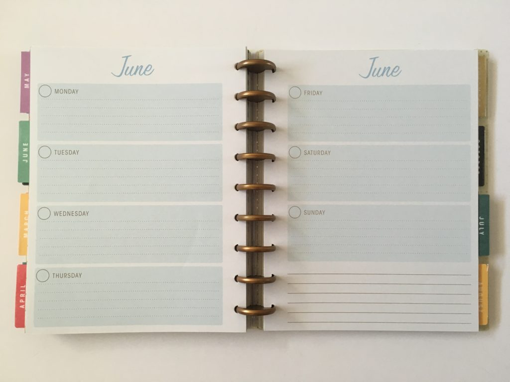 simplicity horizontal weekly planner review monday start undated video flipthrough rainbow colorful blue
