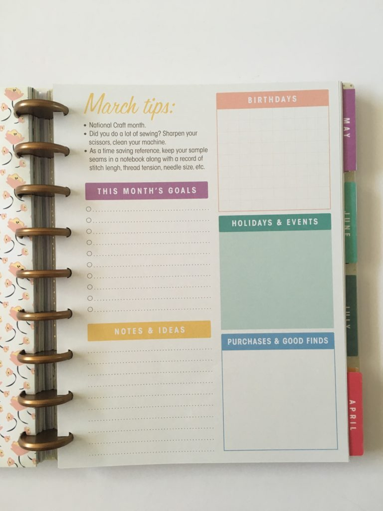 simplicity weekly planner discbound monthly planning page anniversaries birthdays to do rainbow compatible with mambi