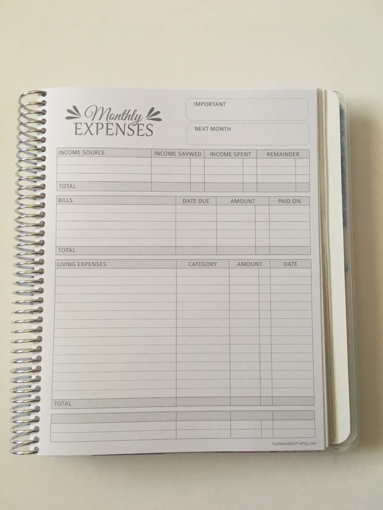 whistle and birch budget expenses tracker