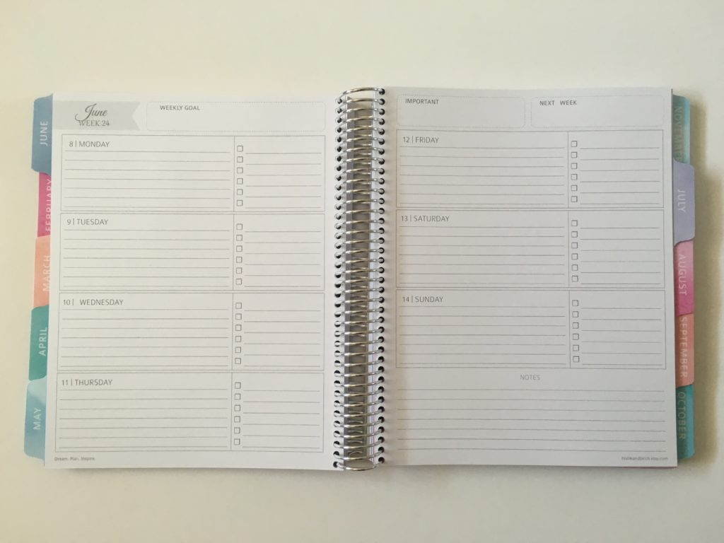 whistle and birch horizontal lined weekly planner checklists