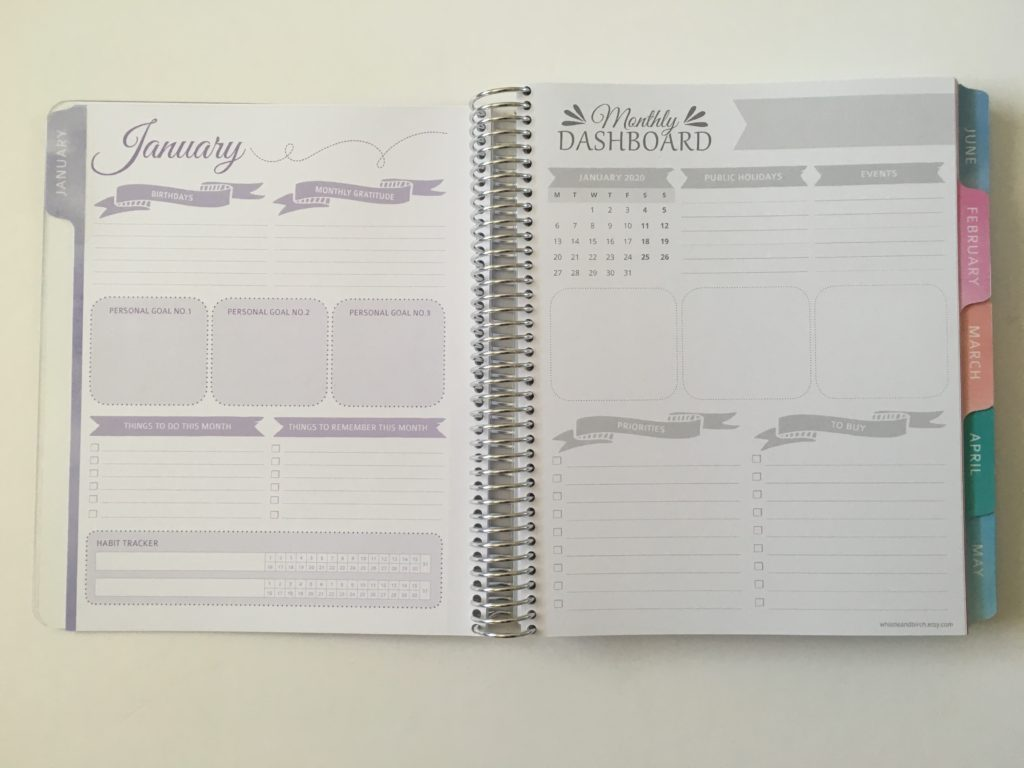 whistle and birch monthly calendar organizer australian checklist goals habit tracker
