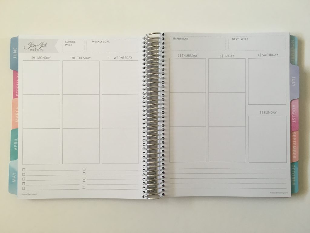 whistle and birch teacher planner layout monday week start combined weekends