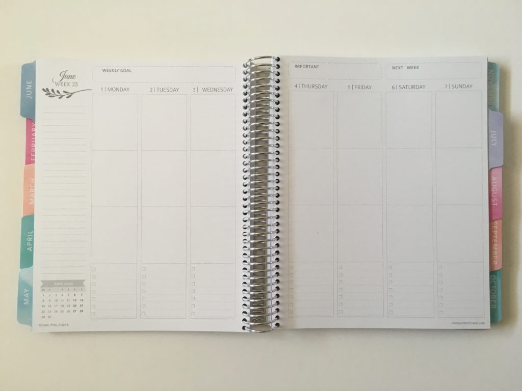 whistle and birch vertical weekly planner layout