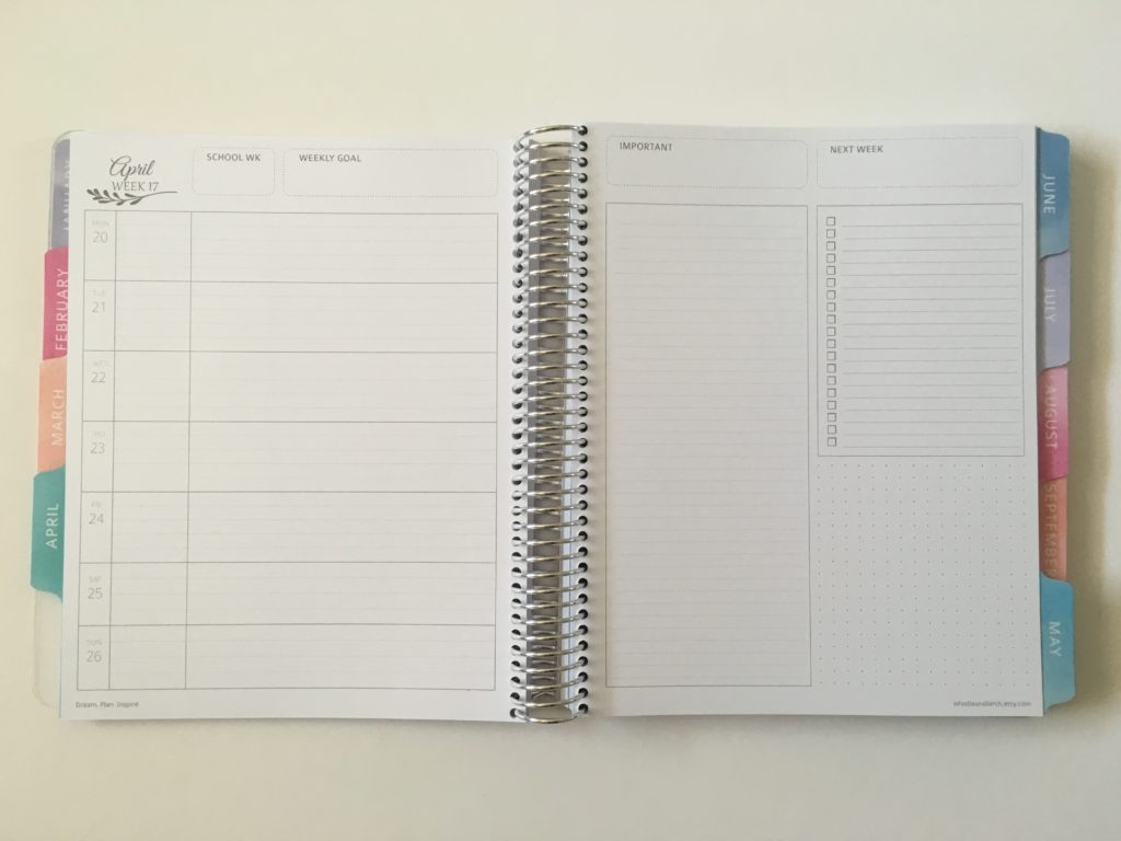 whistle and birch weekly planner review australian made monday start horizontal 1 page lined