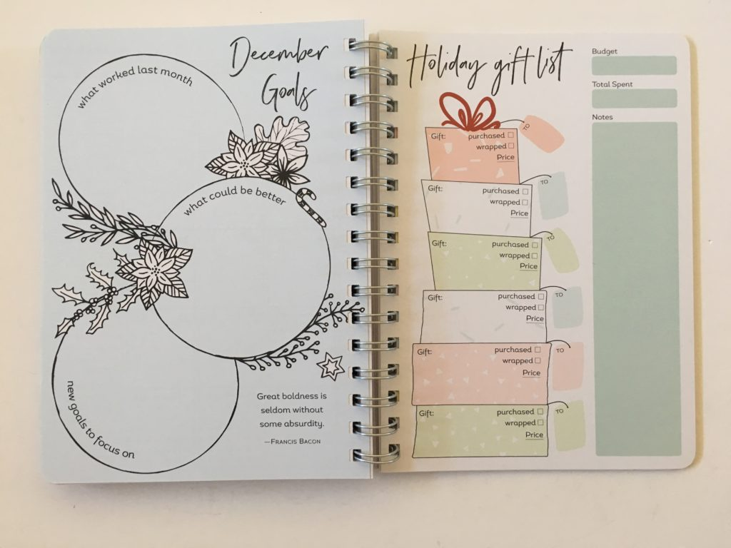 amy knapp's very busy organizer weekly planner review holiday gift list decorative cute doodle planning