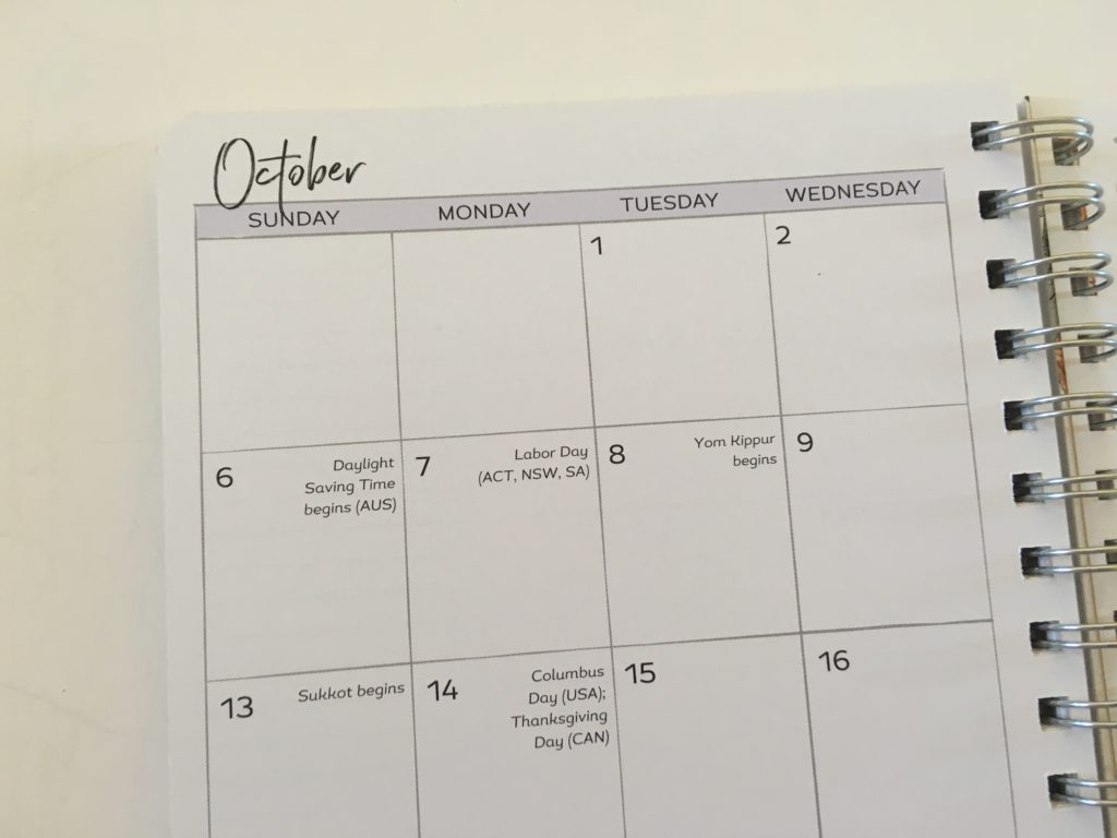 amy knapp's very busy organizer weekly planner review usa holidays pre-printed monthly calendar 2 pages