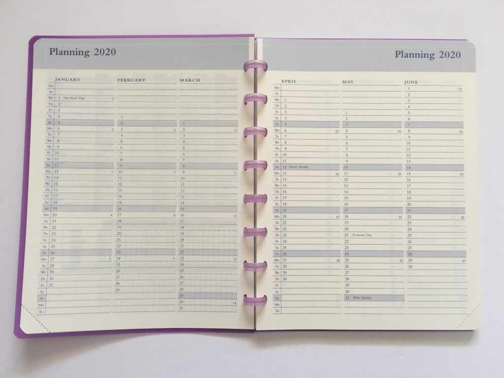 annual overview planning page by quarter in the Atoma discbound weekly planner belgium