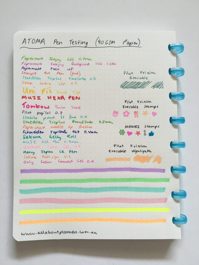 atoma discbound weekly planner review belgium pen testing ghosting bleed through highlighters pens