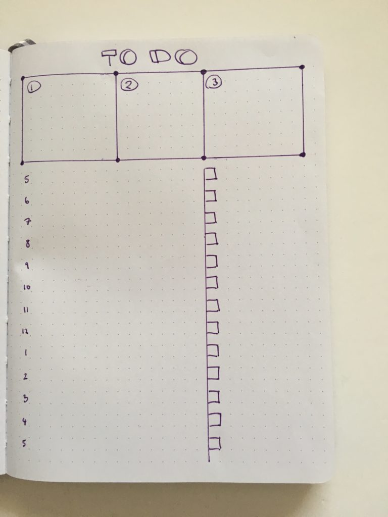 bullet journal daily layout ideas inspiration task focused 5am to 5pm workday planner bujo