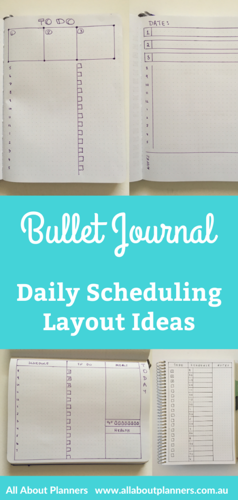 bullet journal daily scheduling layout ideas dot grid notebook simple minimalist frixion pens quick easy 5 minutes