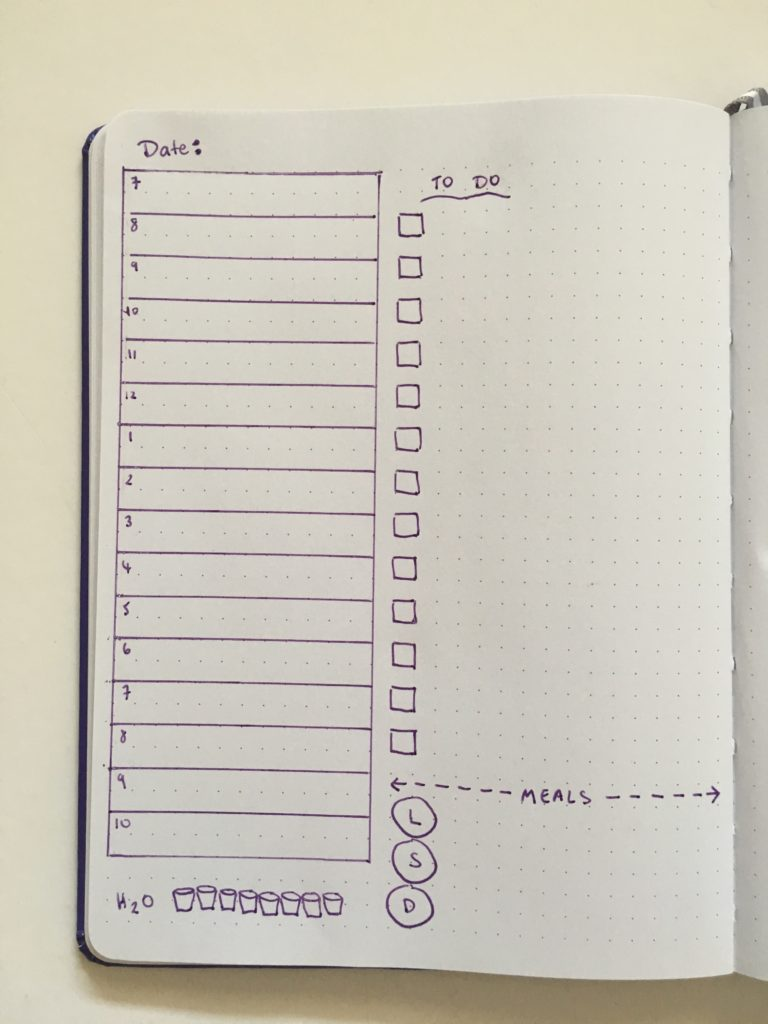 bullet journal day to a page layout appointment style schedule work and personal meals hydrate tracker