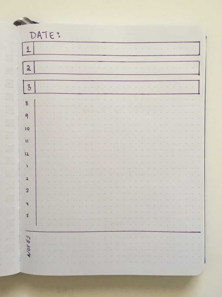 bullet journal scheduling daily planner day to a page top 3 8am to 5pm