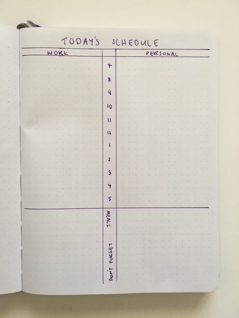 bullet journal work and personal weekly spread 7am to 5pm simple minimalist