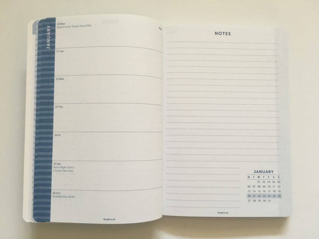 busy b weekly planner monday start 2 page spread horizontal with lined notes page