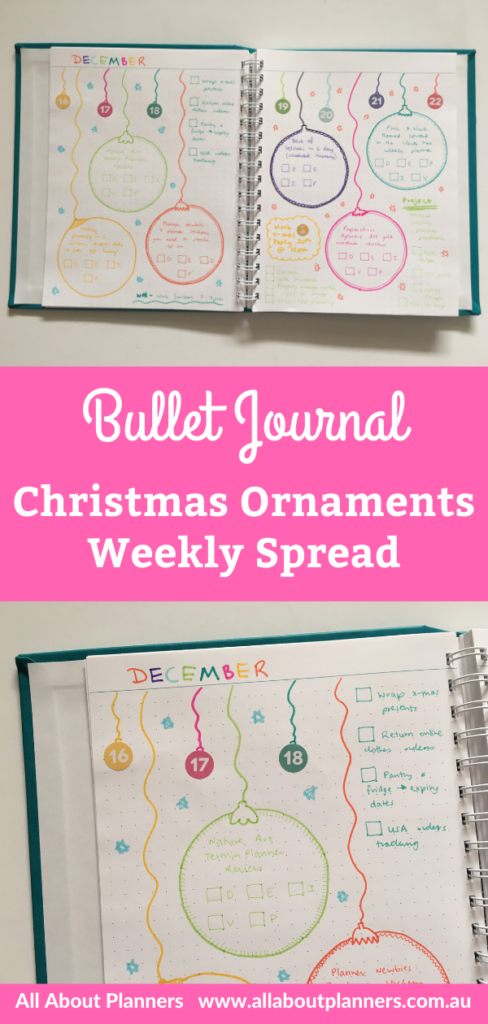 christmas bullet journal weekly spread bujo ornaments rainbow xmas simple quick easy baubles