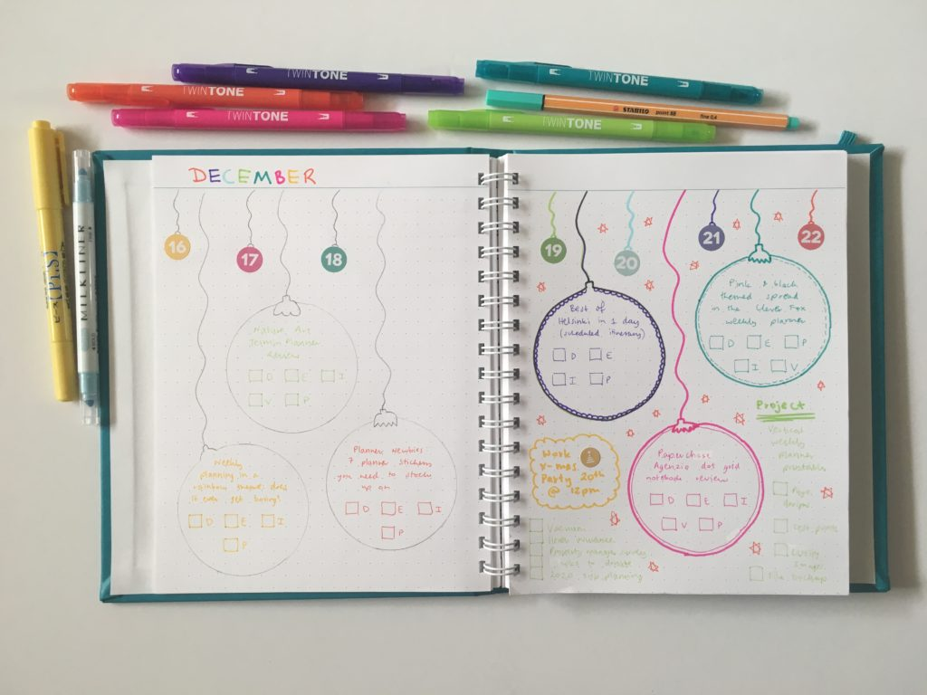 christmas theme weekly spread rainbow colorful ornaments baubles doodle decorative